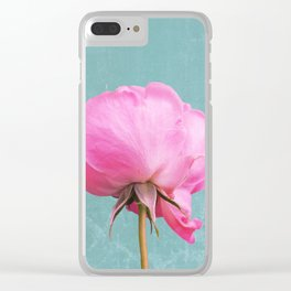 Shy Pink Rose Clear iPhone Case