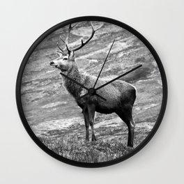 Stag b/w Wall Clock