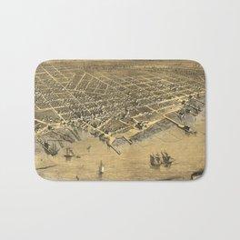 Vintage Pictorial Map of Muskegon Michigan (1868) Bath Mat