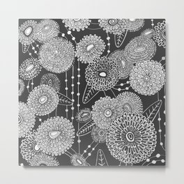 Asters rain in black and white Metal Print