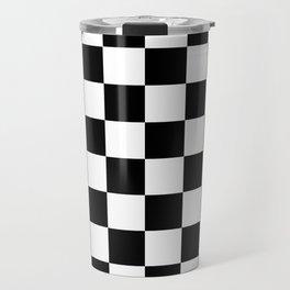 Black White Checker Travel Mug