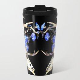 Diamond Pattern Deer Skull and Morning Glory Round Travel Mug