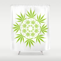 cannabis Shower Curtains featuring Cannabis Leaf Circle (White) by The Image Zone