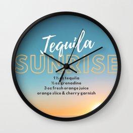 Classic Cocktails: Tequila Sunrise Recipe Wall Clock