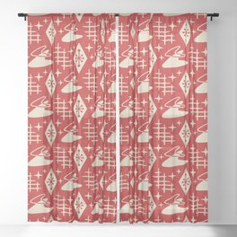 Mid Century Modern Boomerang Abstract Pattern Red and Tan 261 Sheer Curtain