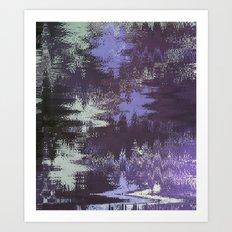 Purple Rain Glitch Art Print
