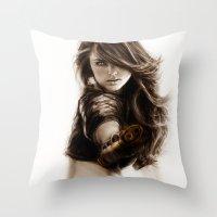 selena Throw Pillows featuring Selena-Q by Isaiah K. Stephens