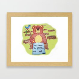 Sad bear & friend Framed Art Print