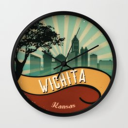 Wichita City Skyline Kansas Retro Vintage Design Wall Clock