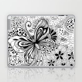 Butterfly and flowers, doodles Laptop & iPad Skin