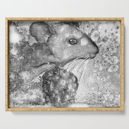 black and white : mouse Serving Tray