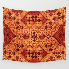 3-D Mosaic in Red and Orange Wall Tapestry