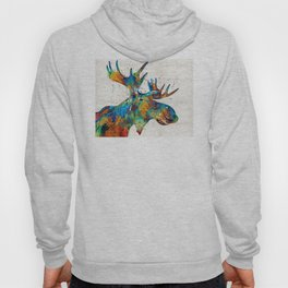 Colorful Moose Art - Confetti - By Sharon Cummings Hoody