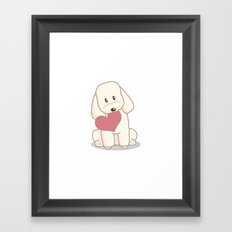Toy Poodle Dog with Love Illustration Framed Art Print