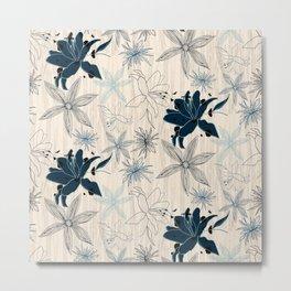 Dark wood grain flowers Metal Print