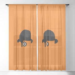 A Clockwork silhouette Sheer Curtain