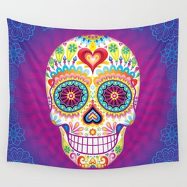 Sugar Skull Art (Luminesce) Wall Tapestry