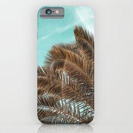 Summer Palm Leaf Print {1 of 3} | Teal Sun Sky Beach Vibes Tropical Plant Nature Art iPhone Case