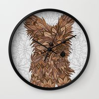 yorkie Wall Clocks featuring Cute Yorkie by ArtLovePassion