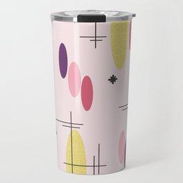 Ovals and Starbursts Pink Travel Mug