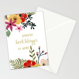 Warning Book Blogger At Work Stationery Cards