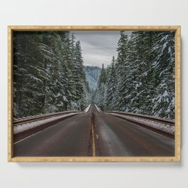 Winter Road Trip - Pacific Northwest Nature Photography Serving Tray