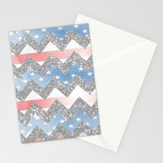 american flag glitter chevron Stationery Cards