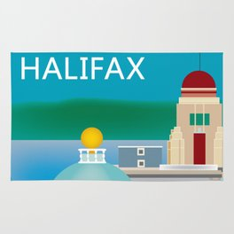 Halifax, Nova Scotia, Canada - Skyline Illustration by Loose Petals Rug