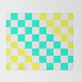 Cheerful Aqua & Yellow Checkerboard Pattern Throw Blanket