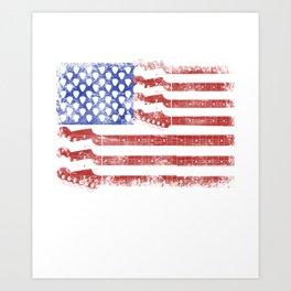 Guitar American Rock Gift US Flag Rock Guitars Concert Music Festival Art Print