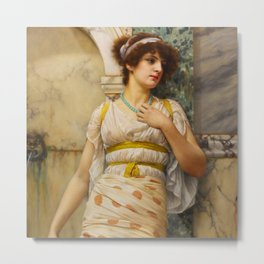 "John William Godward ""At The Fountain"" Metal Print"