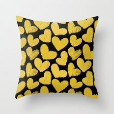 Sketchy hearts in yellow and black Throw Pillow