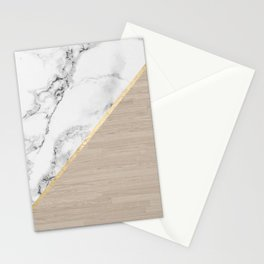 Modern white marble gold stripe wood color block Stationery Cards