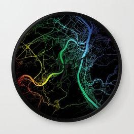 Koblenz, Germany, City, Map, Rainbow, Map, Art, Print Wall Clock