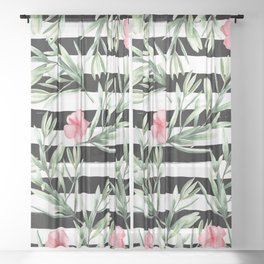 Delicate Hibiscus On Stripes Sheer Curtain