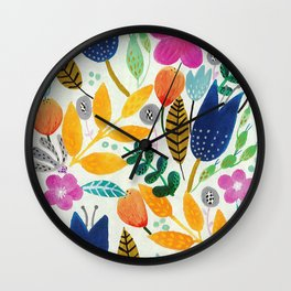 Flower Mayhem Wall Clock
