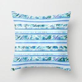 Textured Roses Stripe Blue Amanya Design Throw Pillow