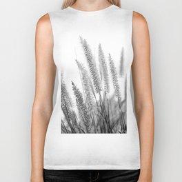 Macro Close Up Monochromatic Black & White Nature Country Field Grass Karl Foerster Grass Art Print Biker Tank