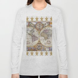 Vintage Map with Stars Long Sleeve T-shirt