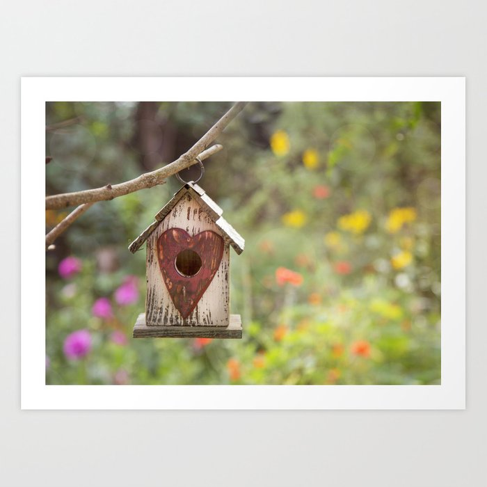 bird house in summer garden Art Print