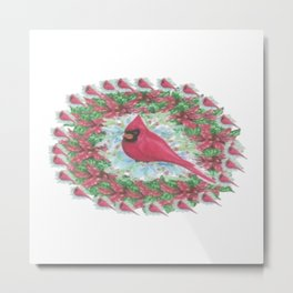 """ Cardinal Wreath "" Metal Print"
