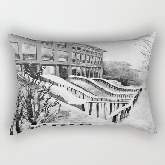 Brooklyn New York in Snow Storm Black and White Rectangular Pillow