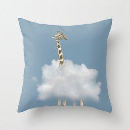 Giraffe in cloud Throw Pillow