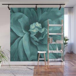 Soft Teal Flower Wall Mural
