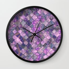 Quatrefoil Moroccan Pattern Lilac Fluorite Wall Clock