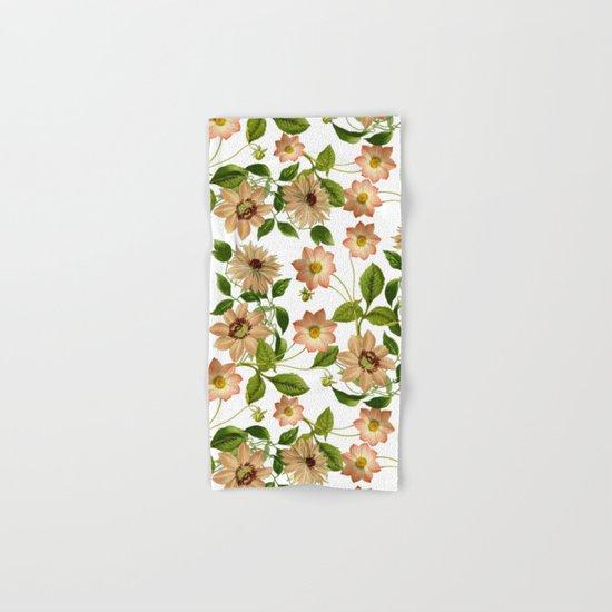 Floral retro vintage pattern pastel colored Hand & Bath Towel