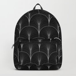 Art Deco Midnight Pattern Black White Grey Backpack