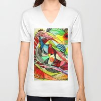 karma V-neck T-shirts featuring karma by sylvie demers