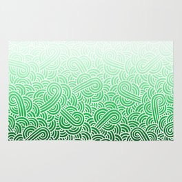 Ombre green and white swirls doodles Rug