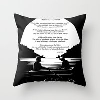 sylvia plath Throw Pillows featuring Crossing the Water (poem) by Sylvia Plath by People Matter Creative